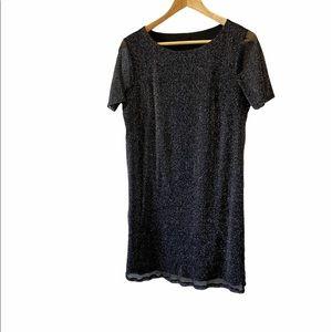 Metallic Black&Silver Loose Fit Short Sleeve Dress